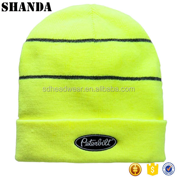 Wholesale High-Vis Safety Yellow Winter Beanie Cap winter running beanie