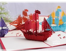 Creative 3D Pop Up Handmade Red Small Boat Christmas Dancing Greeting Cards