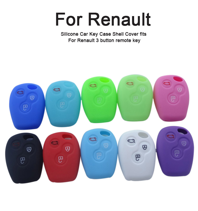 AS070012 Silicone Car Key Case Shell Cover fits For Renault 3 button