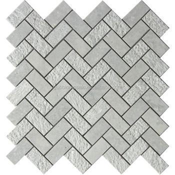 Weavy Grain Carrara White Marble Arrows Mosaic Tiles