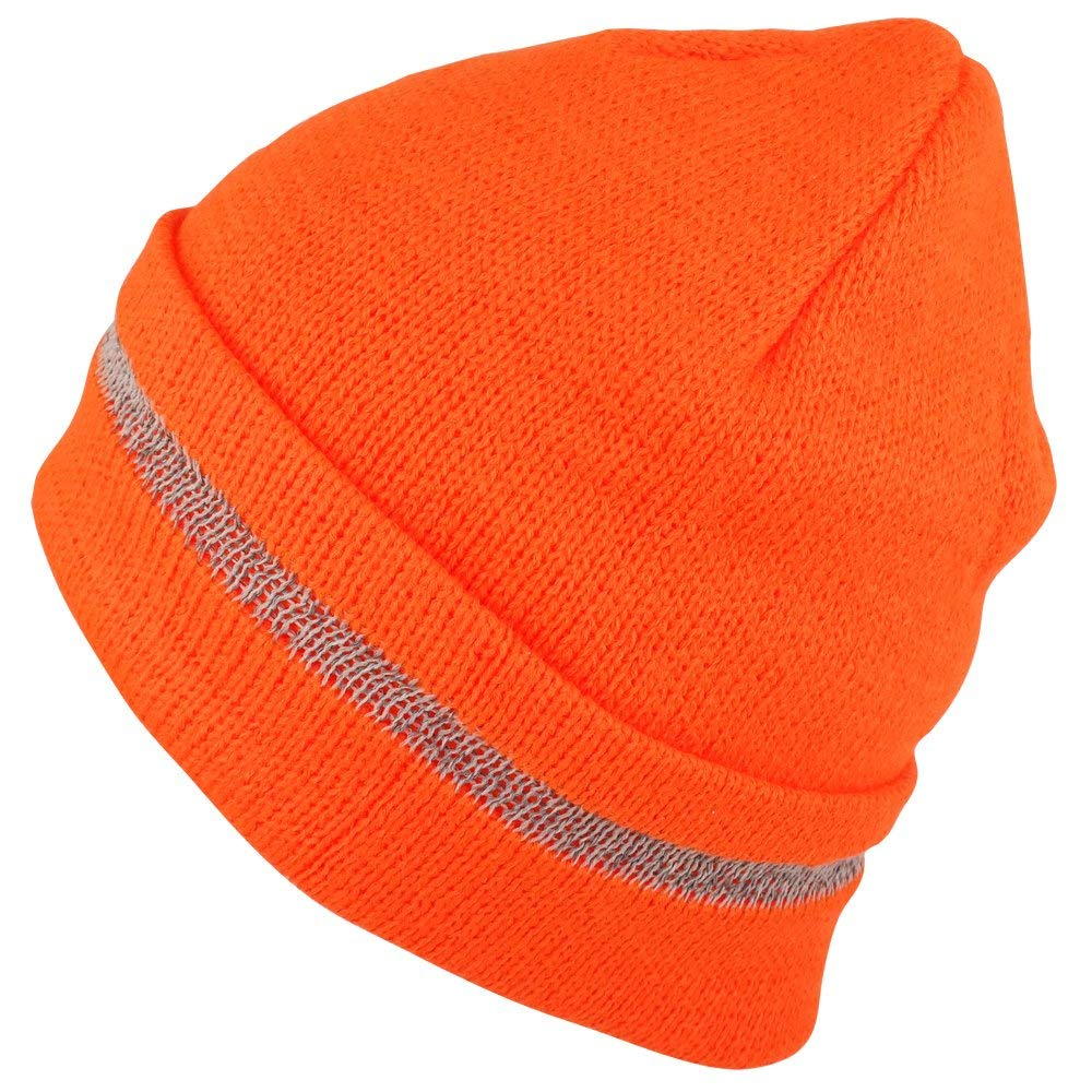 510c240e6b0 Get Quotations · Trendy Apparel Shop High Visibility Reflective Striped  Long Cuff Knit Beanie Hat