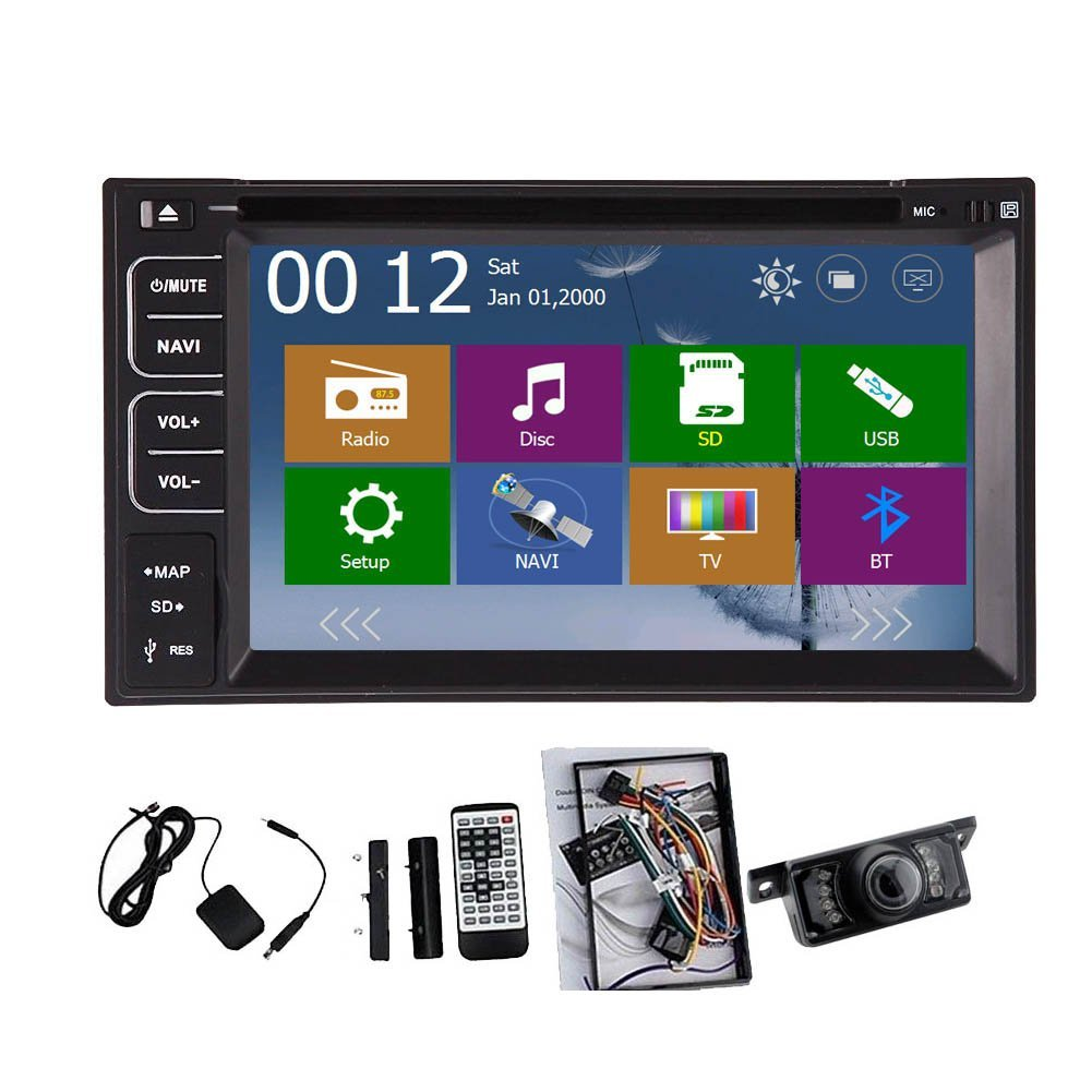 Christmas Sale!!! Monitor Pupug Rear Camera Included HD 2015 New Model 6.2 Inch Double DVD 2 DIN In Dash Car DVD PC Player Touch screen DVD CD Double 2 DIN MP3 MP4 USB SD AM FM AUX RDS Radio H