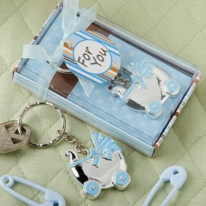 Blue Boy Baby Carriage Shower Christening Gifts for Guest Baby Shower Keychain Souvenir