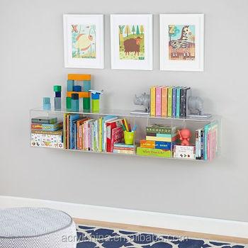 Acrylic Wall Mounted Bookshelf Bookcase Fashion Decorative Wall