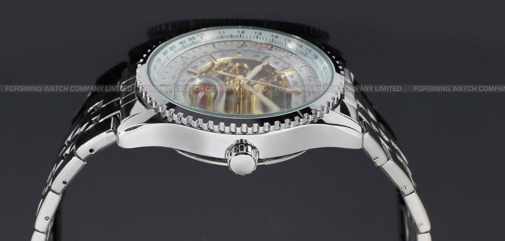 Мужские Часы Из Нержавеющей Стали Автоматическая Скелет Мужской Люксовый Бренд Серебро, Платье, часы Мужчины Наручные Часы