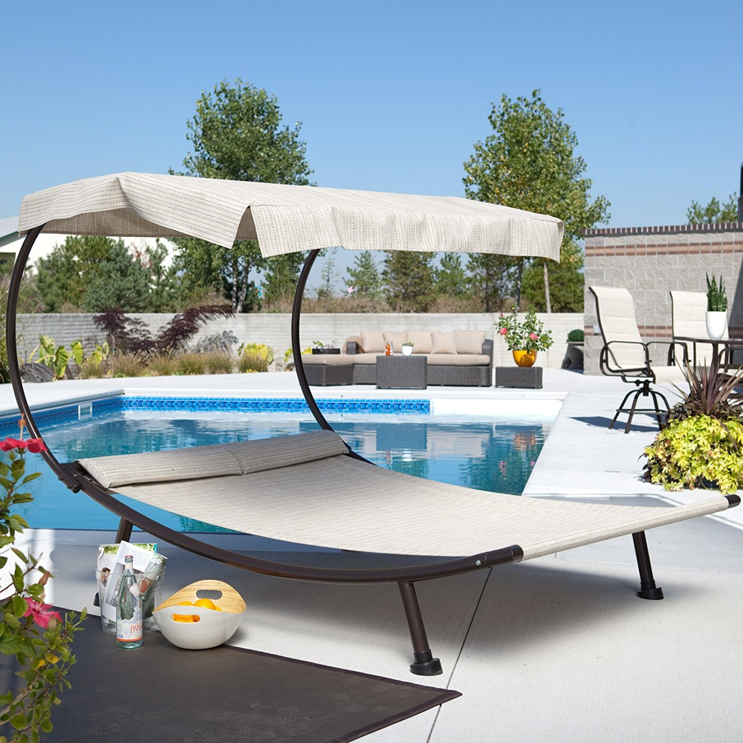 Care 4 Home LLC Beach Pool Canopy Double Chaise Lounge with Padded Headrest, Hammock Like Design, Durable Steel Frame, Garden, Outdoor Furniture