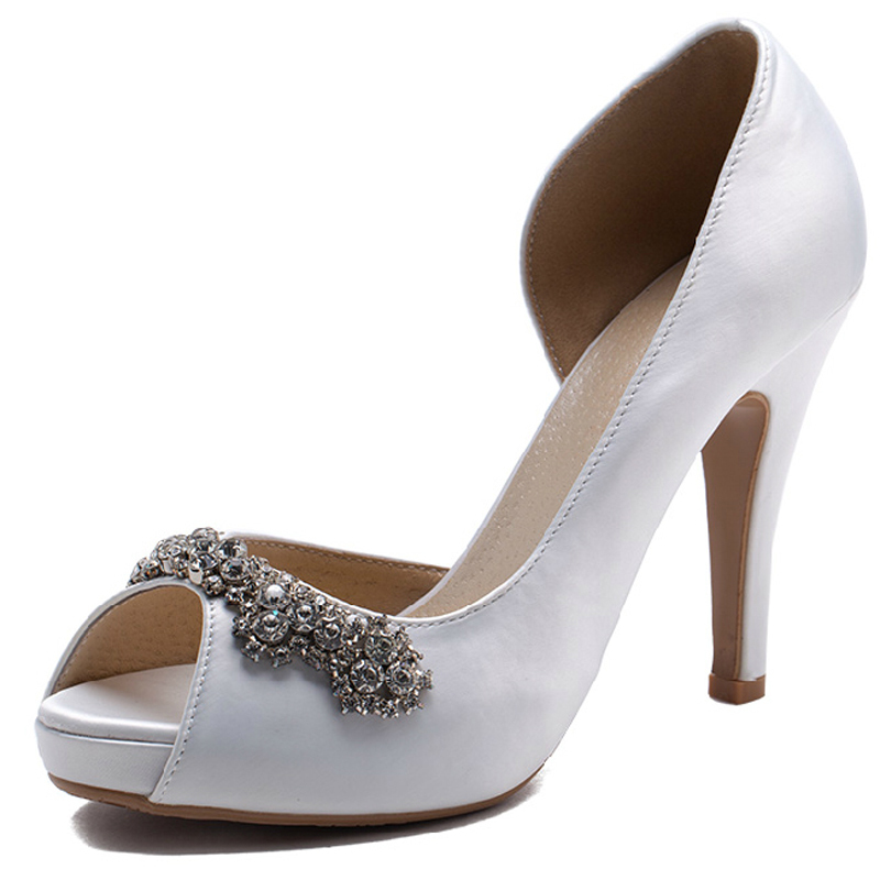 d6e505c1809048 Get Quotations · Free shipping 2015 New Luxury Handmade White Rhinestone  Wedding Shoes High Heels Bridal Shoes Peep Toe