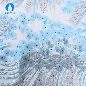 New Design Hand Embroidery Organza Lace Fabric with Rhinestone