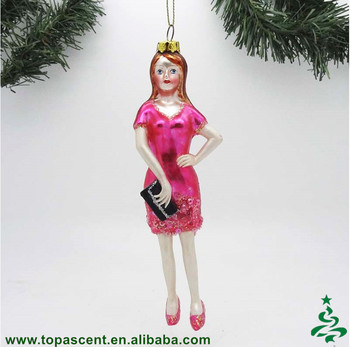 Wholesale Personalized Hand Blown Glass Red Girl Figurine Christmas Tree Haning Ornaments From China Factory Buy Christmas Ornaments