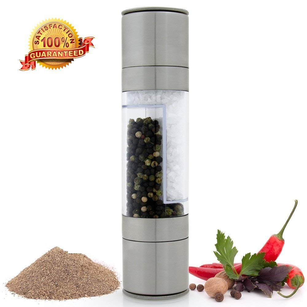 VONOTO 2 in 1 Kitchen Salt & Pepper Grinder Set - 2 in 1 Stainless Steel Model of Highest Quality. The Salt Mill and Pepper Grinder Combines Two Mills Into One Dual Ended Design (2 in 1)