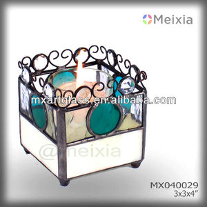 MX040041 tiffany style votive stained glass candle holder