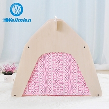 Natural Creative Dog Show Tent,Pink Wooden Pet House
