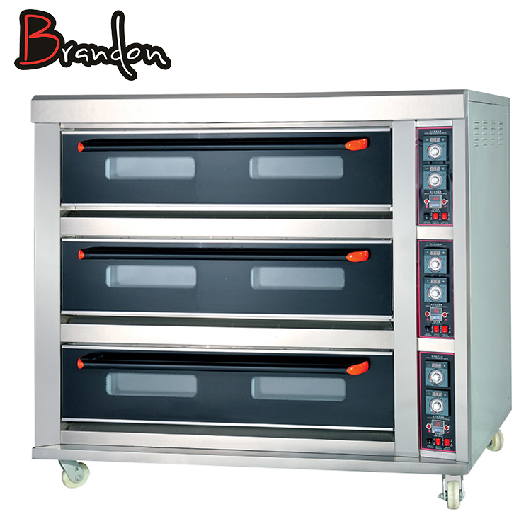 Stainless Steel Baking Oven Commercial Electric Pizza Oven With Triple Deck