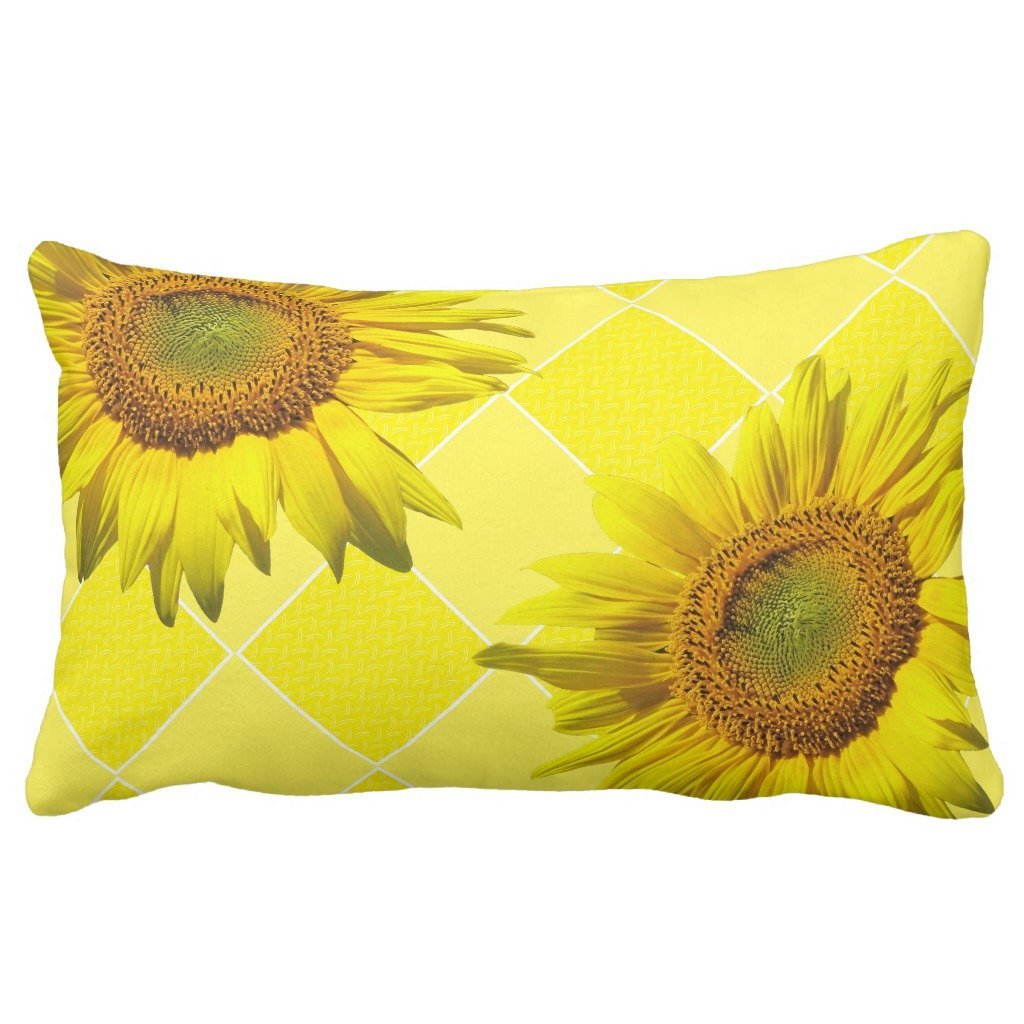 "Zazzle Summer Sunflower Yellow Pattern Lumbar Pillow 13"" x 21"""