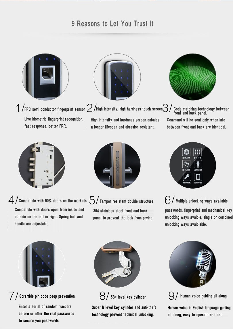 Hot sales Fingerprint Door Locks Intelligent Digital Door Lock Remote Control Keyless Door fingerprint lock