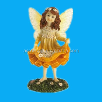 Hand Painted Resin Girl Fairy Figurine Garden Statue With Peacock Wing