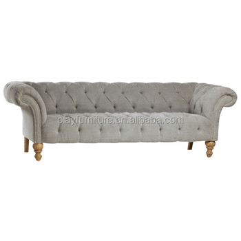 Classical Wooden Sofa, French Country Style Sofa, Button Tufted Grey Velvet  Event Rental Sofa