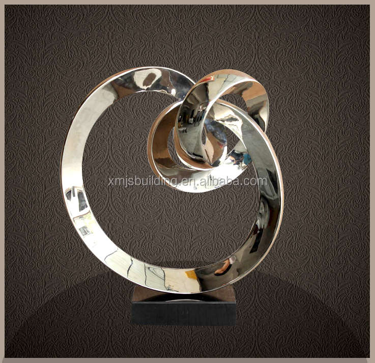 Stainless steel circles sculpture polished modern metal art and craft supplies home decor