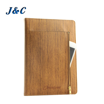 A4 A5 A6 hard cover custom PU leather personalized notebook with phone pocket dotted printing paper journal supplier