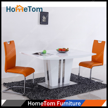 High Gloss Finish Stainless Steel Base MDF Dining Table Set