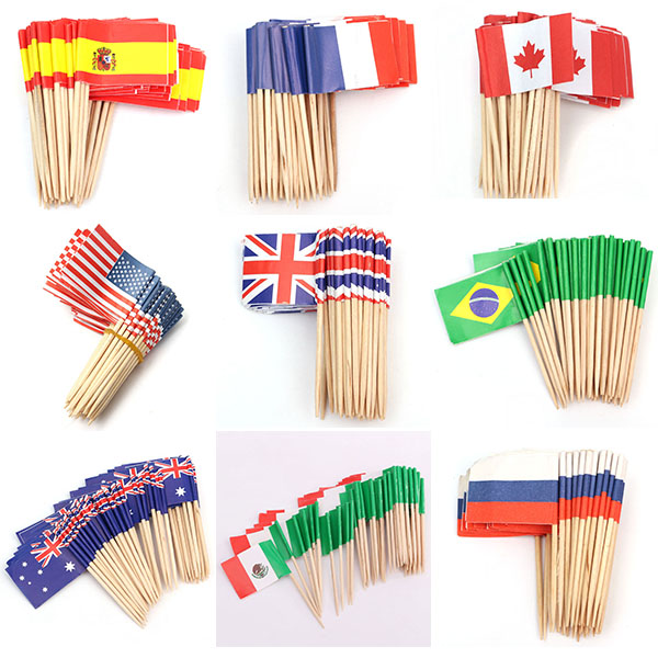 Disposable Wooden Sticks Wooden Umbrella Flag