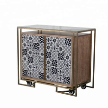 Customized Luxury Hotel Furniture Caster Movable Stainless Steel Frame Wooden Buffet Sideboard Cabinet With Marble Top And Tile