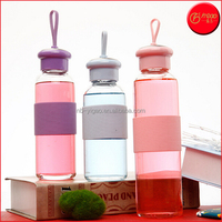 YG-17985 Portable Water Glass Drinking Bottles with Silicone Cover