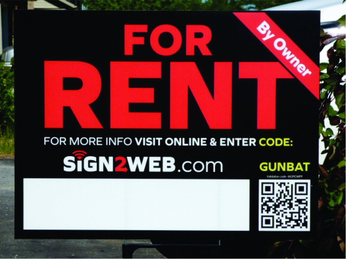 """WEB ENABLED For Rent SIGN & POST - 2 Sided LASER PRINTED High Visibility For Rent Yard Sign - Size 18"""" x 24"""" Rent Sign - House For Rent Sign - THE EVOLVED FOR RENT SIGN SOLUTION!"""