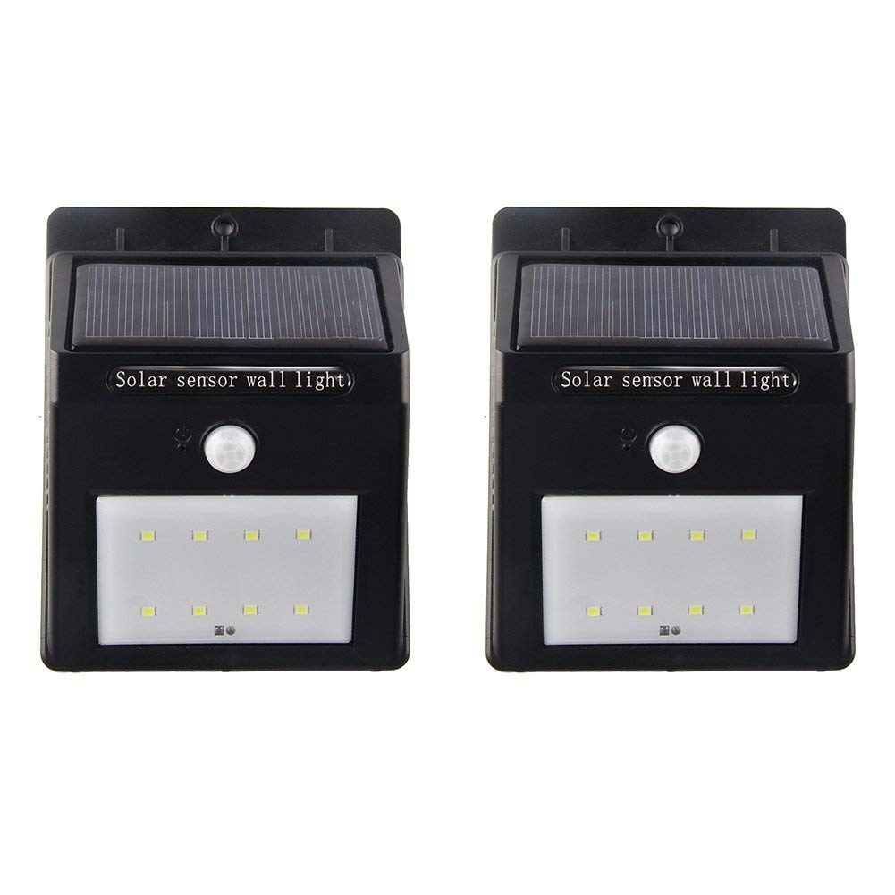 Motion Sensor Solar Lights Outdoor Wall Light 8 LED Waterproof Wireless Security Night Light Lamp For Outdoor Closet Light Porch Light Yard Garden Step Stair Garage Garden Deck Light 2 pack