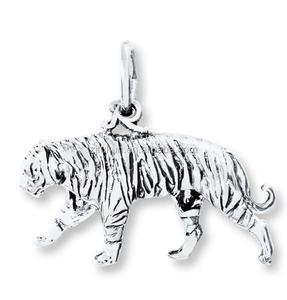 2018 Fashion Jewelry Wholesale Silver Plated Animal Tiger Charms Black Enameled Pendent