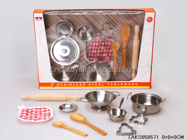 Funny Stainless Steel Kitchen Set Iron Toys Mini Cooking Toys For