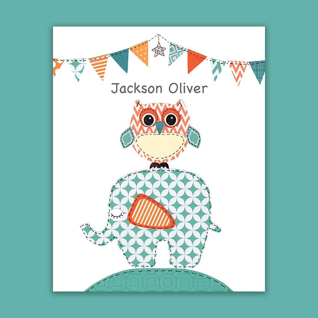 Baby Boy Gift -Baptism Gift - Personalized - Christening Gift for Godchild - Elephant - Bunting- Ellie - Owl - Teal - Birth Gift - Nursery Art - Dedication - Baptism Gift from Godparents - PRINT