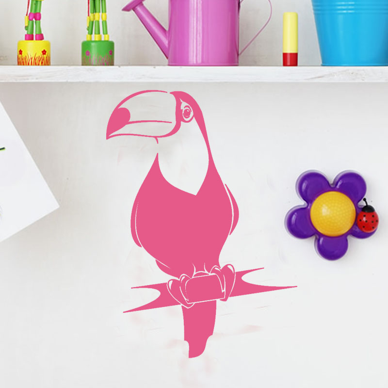 PVC Self Adhesive Toucan Wall Sticker Girls Room Simple Design Birds Animal Living Room Home Decor