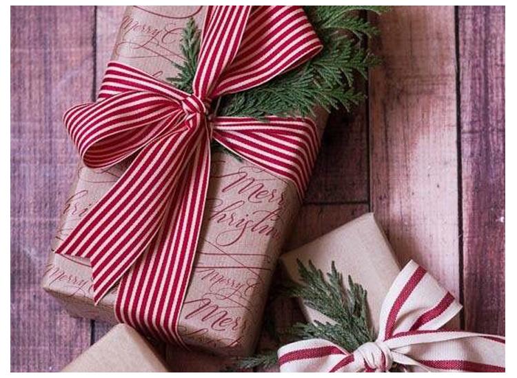 ร้อนขายแถบเข็มขัดสีแดงและสีขาวลายพิมพ์ของขวัญคริสต์มาสริบบิ้น G Rosgrain
