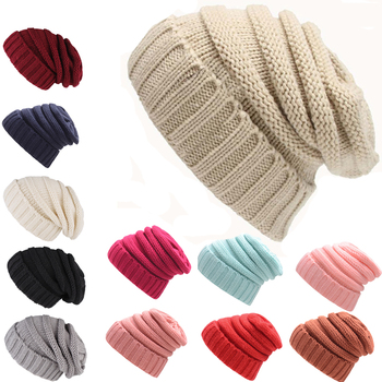 ef1eedab33b3f YOUME Women Men Winter Knitted Wool Cap Unisex Folds Casual CC labeling Beanies  Hat Solid Color
