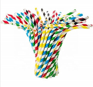 FDA Party Favors Wholesale Cocktail Eco Friendly Striped Recycled Drinking Paper Straw
