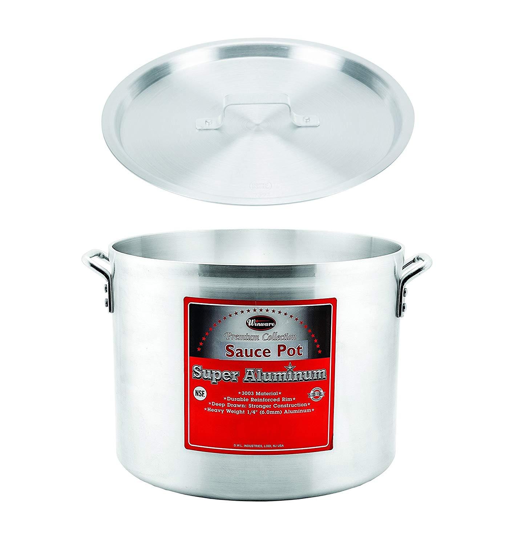 "Winco AXHA-40, 40-Quart 16"" x 11-3/4"" Aluminum Sauce Pot With 6-Mm Super Aluminum Bottom with Cover, Commercial Grade Stock Pot with Lid"