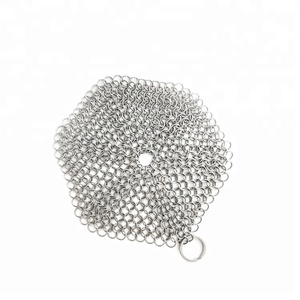 stainless steel chain mail round cast iron cleaner scrubber sponge