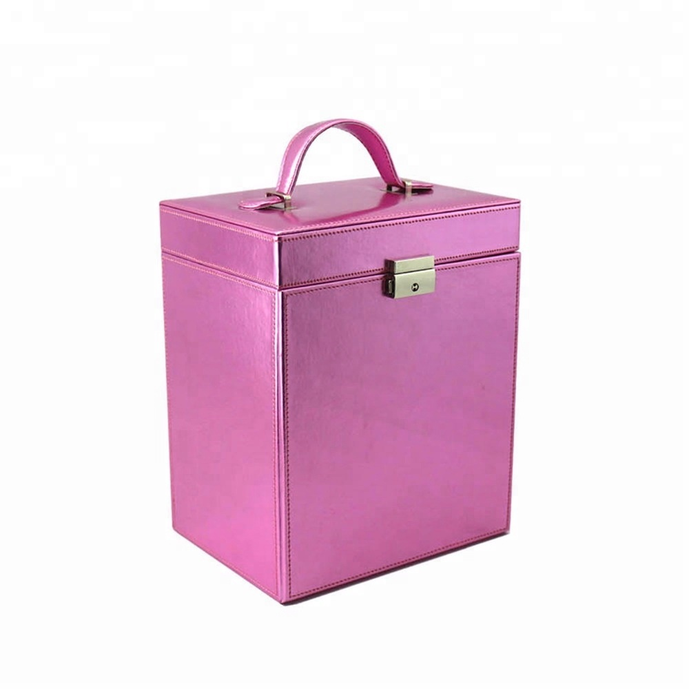 Portable leather cosmetic storage box with handle