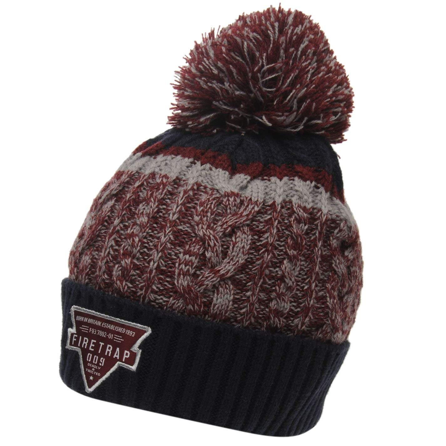 f76f65a8fcf Get Quotations · Firetrap Mens Kilauea Bobble Hat Knitted Turn up Cuff