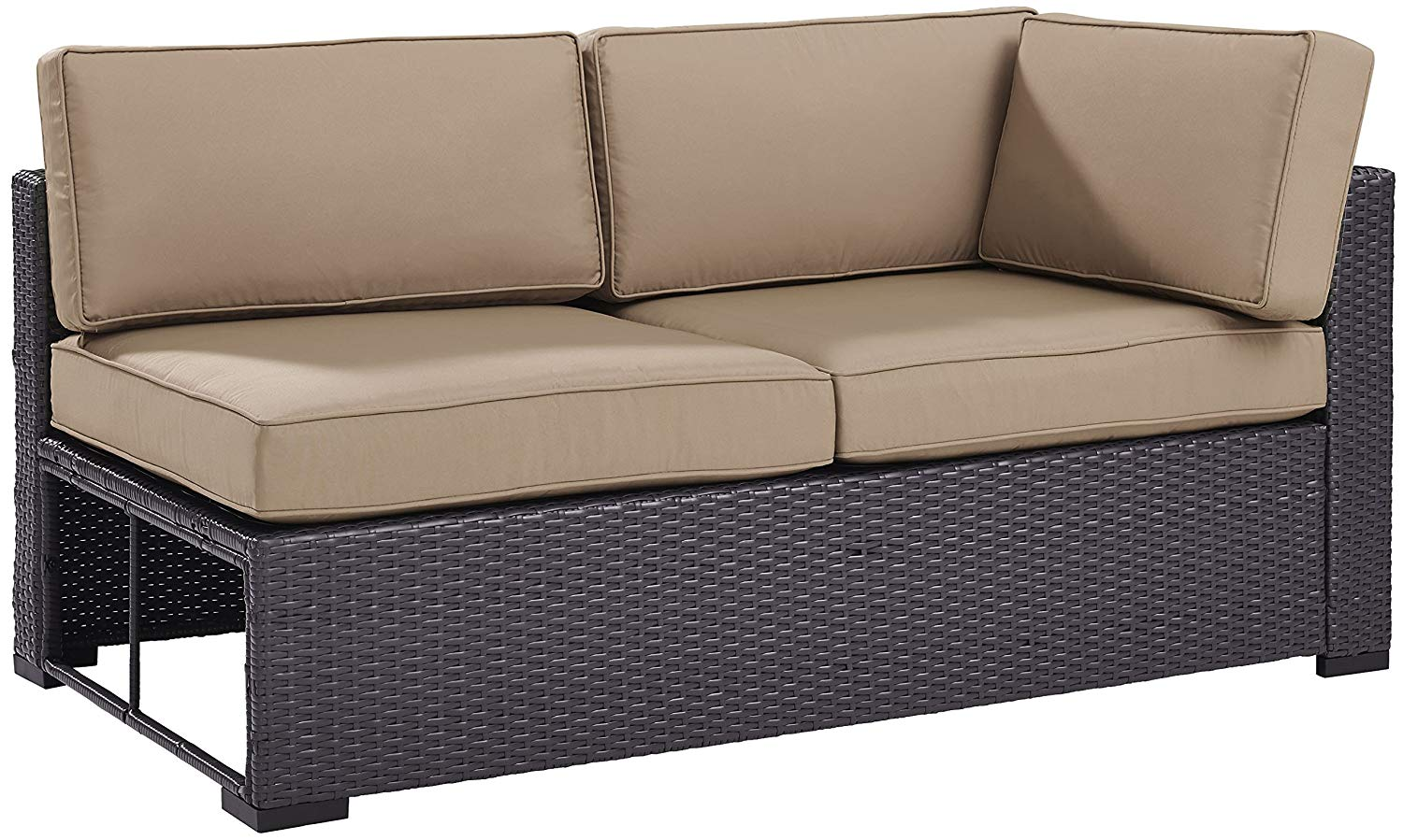 Crosley Furniture KO70129BR-MO Biscayne Outdoor Wicker Single-Arm Loveseat, Brown with Mocha Cushions