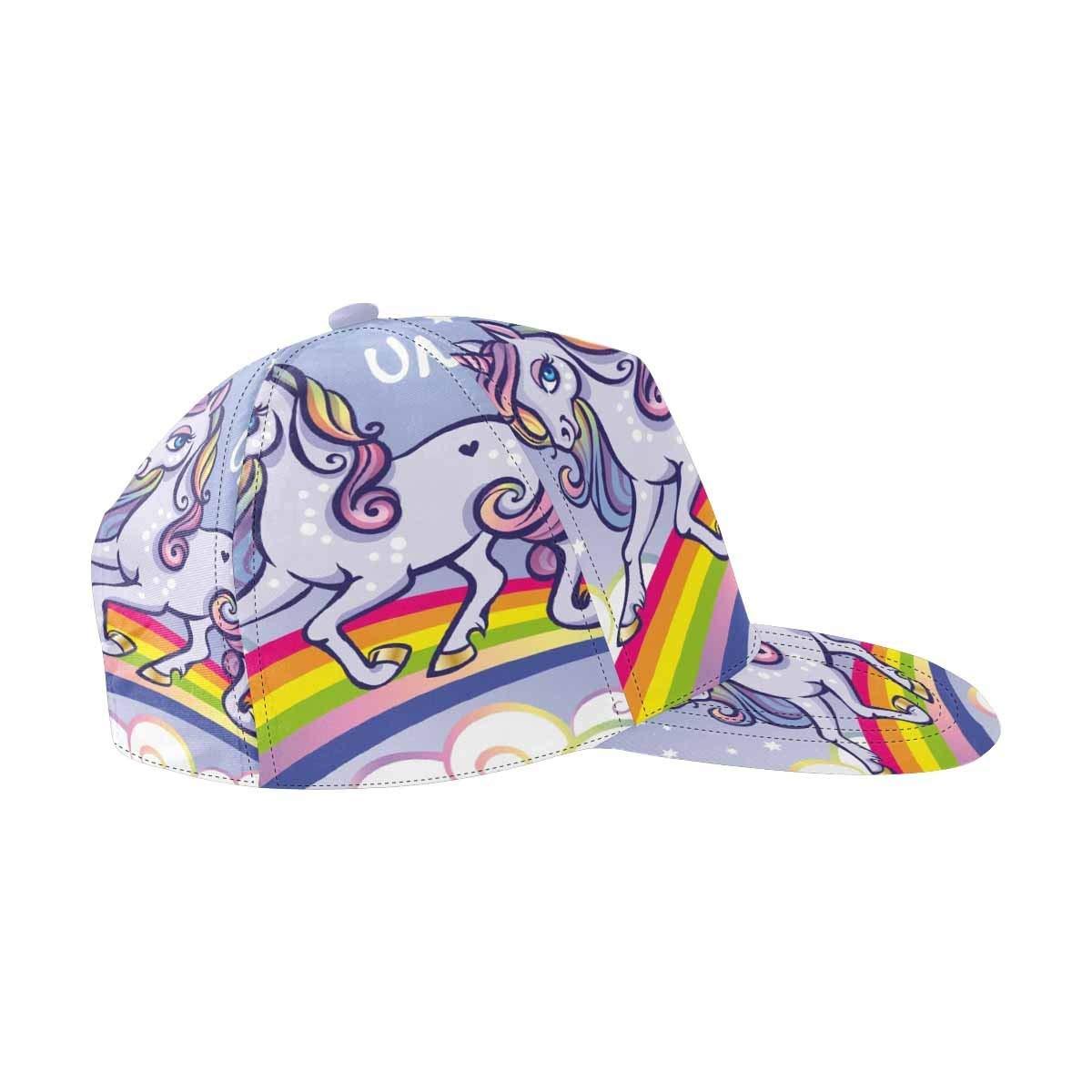 162597122381e Get Quotations · InterestPrint Cute Unicorn, Stars, Rainbow Unisex Hat Men  Womens Punk Rock Snapback Hat Hip