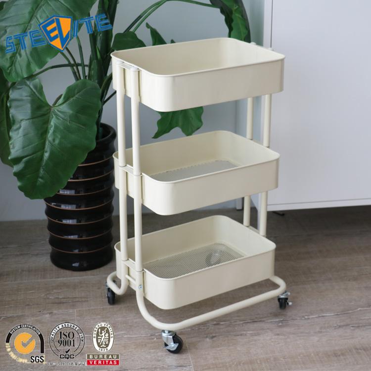 3 niveau 1 Tiroirs Chariot de cuisine en bois blanc Panier Panier De Stockage