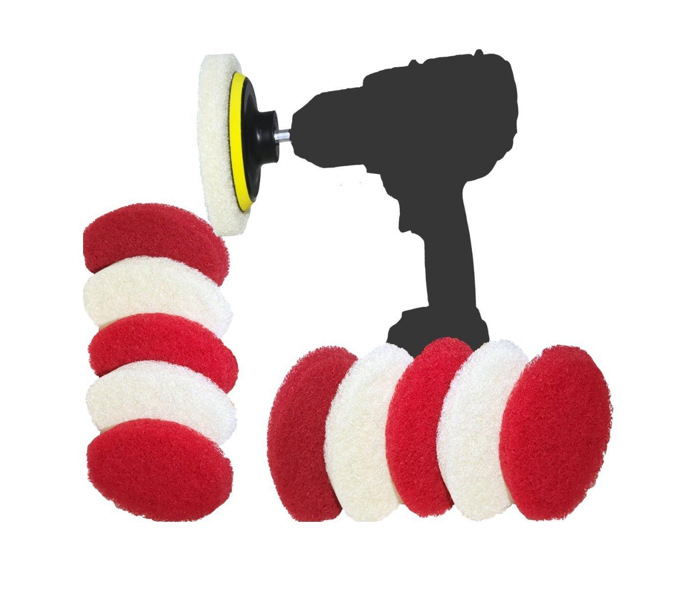 Spin-Scrub Drill Brush Scrub Pad with Drill Attachment - Spin Scrubber for Tile, Sink, Water Spot, Fiberglass Tub, Vinyl Floor - Non-Scratch - Bathroom Scrubber Attachment For Drill (12-Pack)