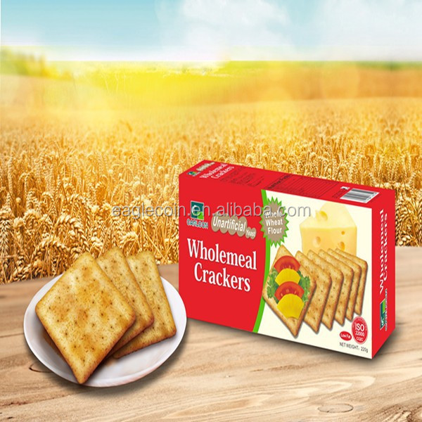 220g Wholemeal Crackers Biscuits Crisp Salty Square