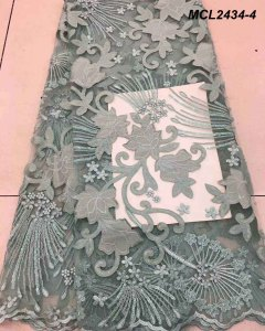 Handwork fancy customized sequins lace floral embroidered tulle satin fabric