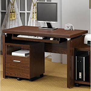 Coaster Peel Computer Desk with Keyboard Tray in Medium Brown Finish