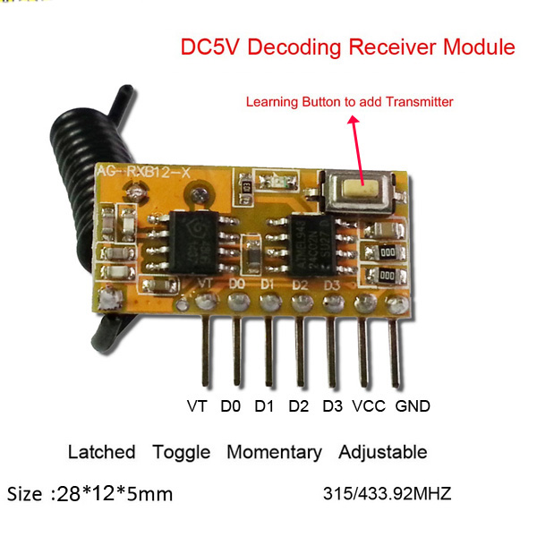 433Mhz Wireless RF 4 Channel Output Receiver Modules and Transmitter EV1527 C Fo