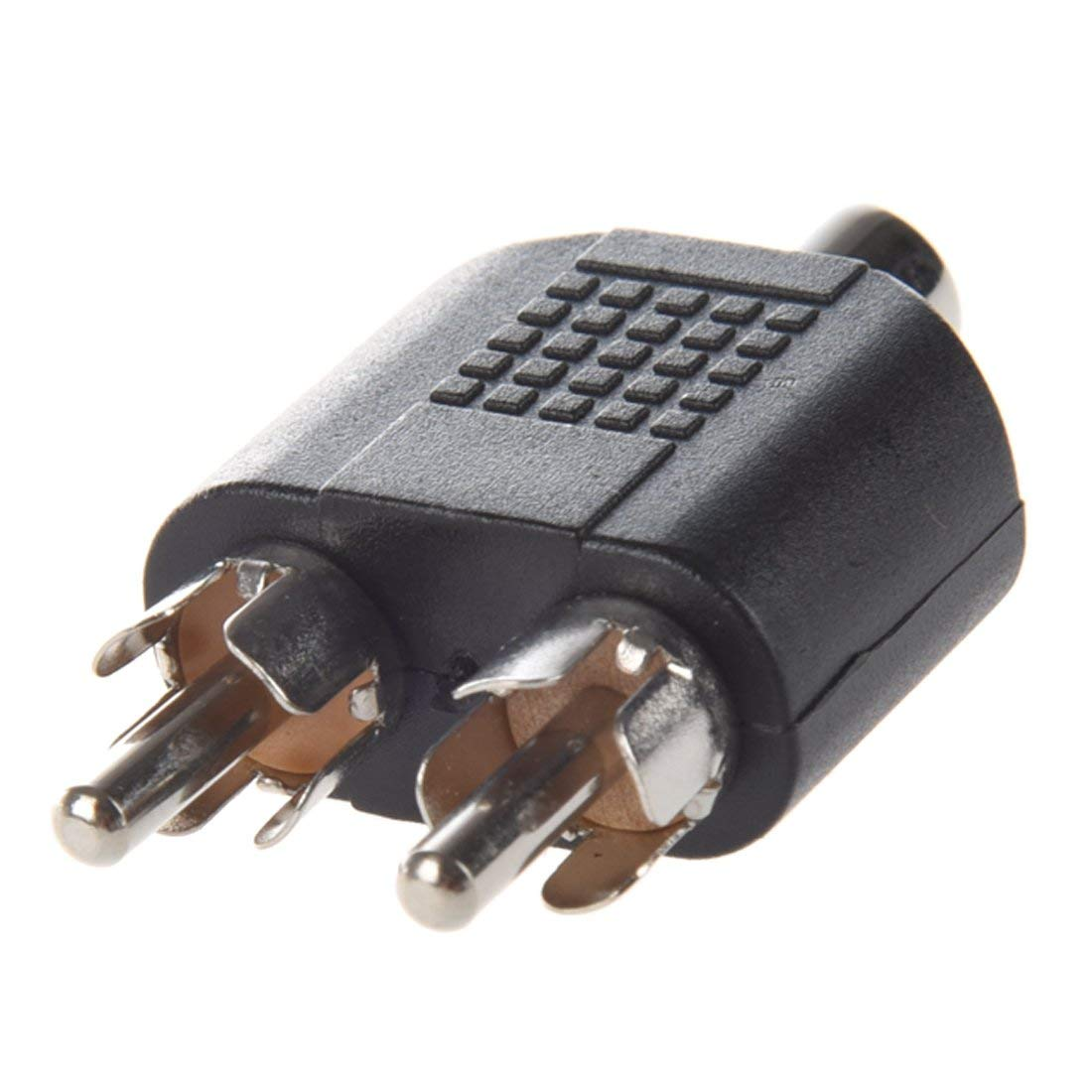 SODIAL(R) Dual RCA Male Plug to 1 x RCA Female Socket Phono AV Adapter Connector