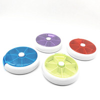 Plastic round shaped mini medicine/pill jewelry box for cosmetic packaging